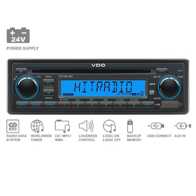 24V FM RDS Tuner with CD,MP3,WMA,USB