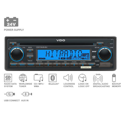 24V FM RDS & DAB Tuner mit CD,MP3,WMA,USB,Bluetooth