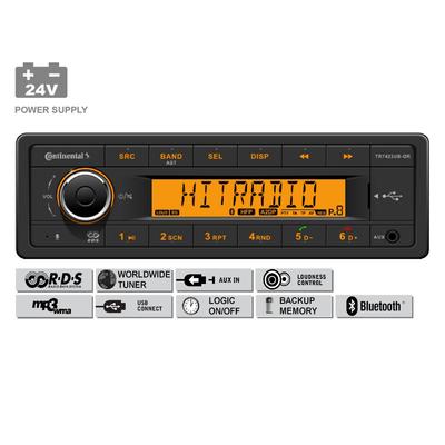 24V FM RDS Tuner met MP3, WMA, USB, Bluetooth