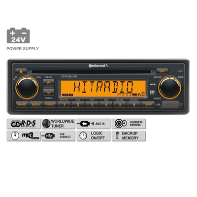24V FM RDS Tuner met CD, MP3, WMA, DAB, DAB+, DMB, USB, Bluetooth